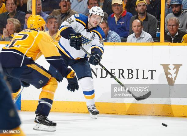 Vladimir Tarasenko of the St Louis Blues skates against the Nashville Predators in Game Four of the Western Conference Second Round during the 2017...