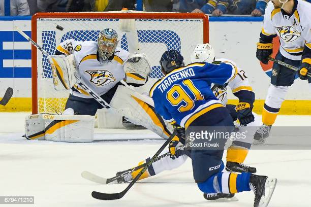 Vladimir Tarasenko of the St Louis Blues takes a shot against Pekka Rinne of the Nashville Predators in Game Five of the Western Conference Second...