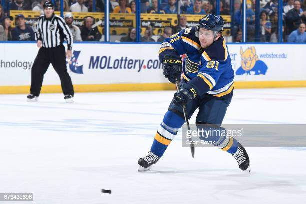 Vladimir Tarasenko of the St Louis Blues takes a shot against the Nashville Predators in Game Five of the Western Conference Second Round during the...