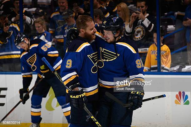 Vladimir Tarasenko of the St Louis Blues talks with Steve Ott prior to Game Four of the Western Conference Second Round during the 2016 NHL Stanley...