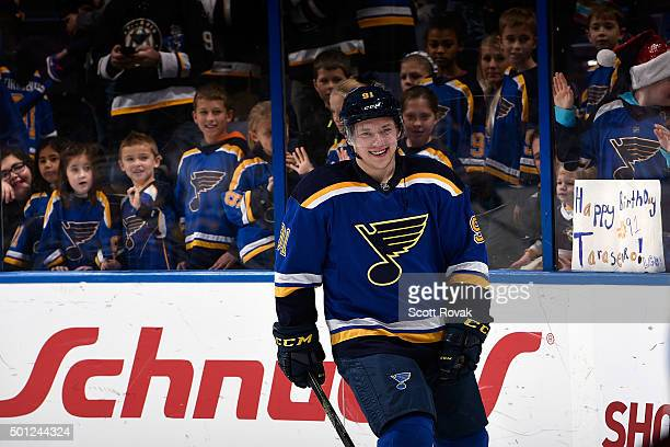 Vladimir Tarasenko of the St Louis Blues warms up before a game against the Colorado Avalanche on December 13 2015 at Scottrade Center in St Louis...