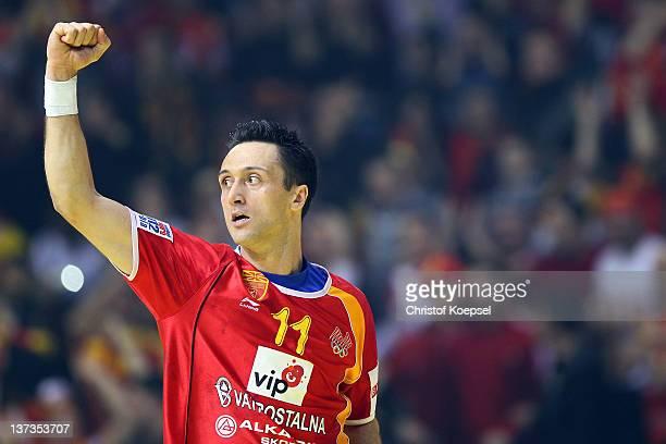 Vladimir Temelkov of Macedonia celebrates a goal during the Men's European Handball Championship group B match between Czech Republic and Macedonia...