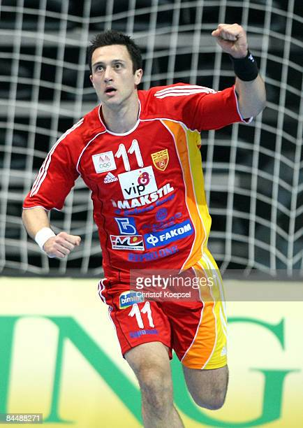 Vladimir Temelkov of Macedonia celebrates a goal during the Men's World Handball Championships main round match group two between Macedonia and...