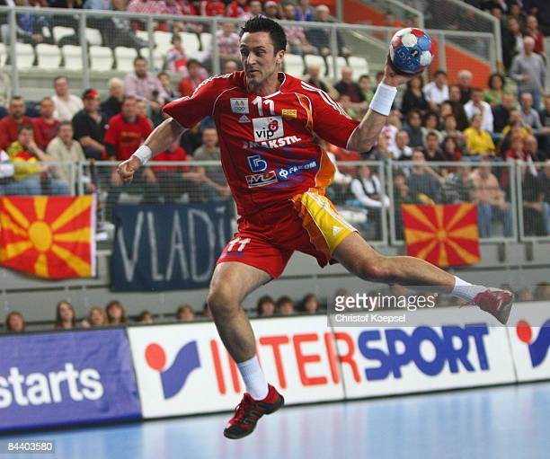 Vladimir Temelkov of Macedonia scores a goal during the Men's World Handball Championships match between Macedonia and Russia at the Sports Centre...
