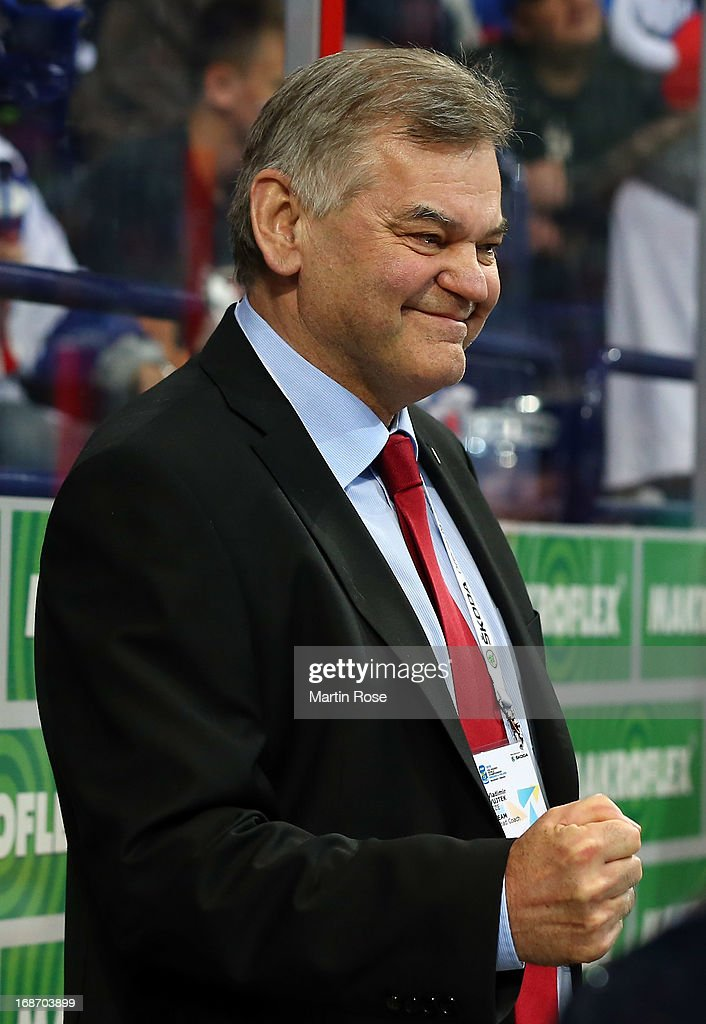 Vladimir Vujtek, head coach of Slovakia celebrates after the IIHF World Championship group H match between Slovakia and USA at Hartwall Areena on May 14, 2013 in Helsinki, Finland.