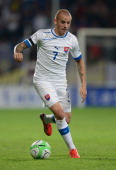 Vladimir Weiss of Slovakia in action during the FIFA 2014 World Cup Qualifying Group G match between Slovakia and BosniaHerzegovina at the MSK Zilina...
