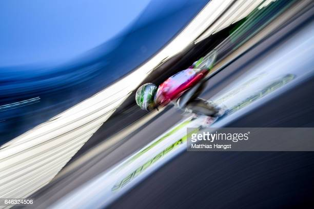 Vladimir Zografski of Bulgaria in action during the Men's LH134 Ski Jumping Training during the FIS Nordic World Ski Championships on February 28...