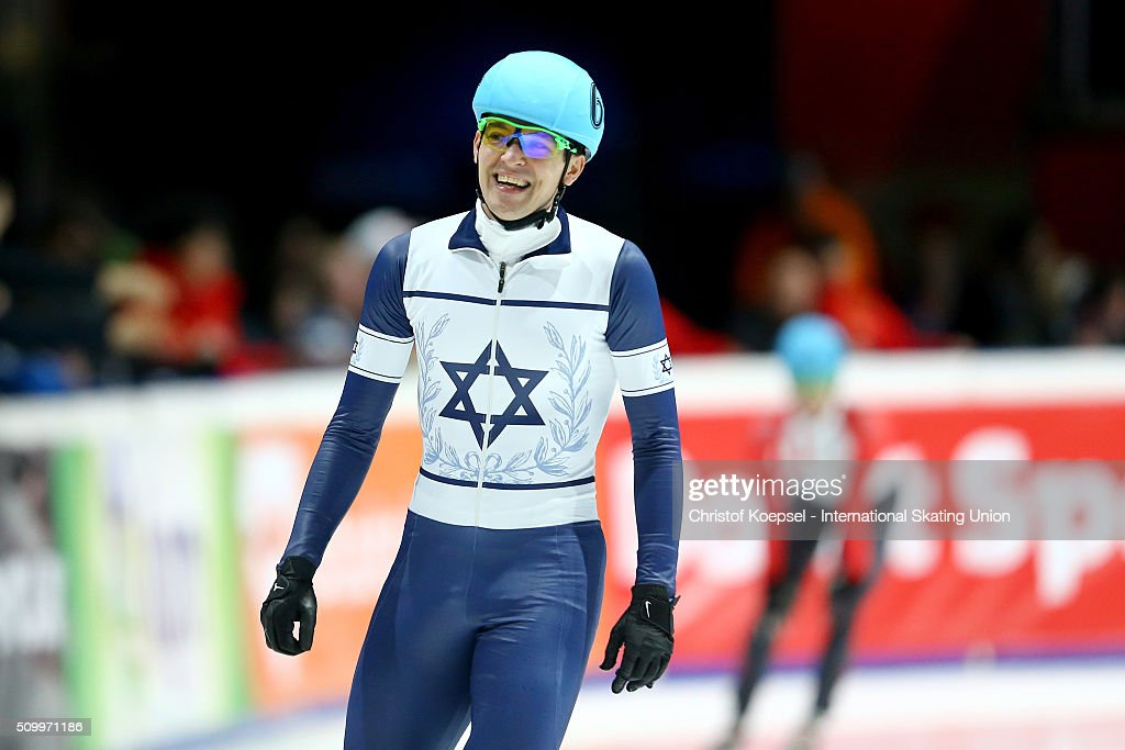 Vladislav Bykanov of Israel celebrates his victory of the men 1500m final A during Day 2 of ISU Short Track World Cup at Sportboulevard on February 13, 2016 in Dordrecht, Netherlands.