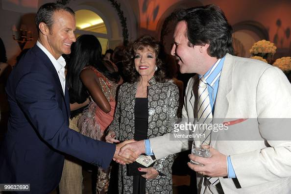 CANNES FRANCE MAY 15 Vladislav Doronin actress Joan Collins and Percy Gibson attend the Vanity Fair and Gucci Party Honoring Martin Scorsese during...