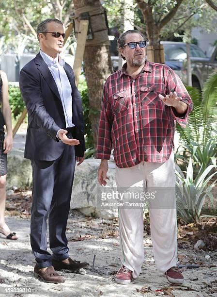 Vladislav Doronin and Julian Schnabel are seen at the installation of Julian Schnabel's monumental sculpture 'AHAB' at Miami's Brickell Flatiron...