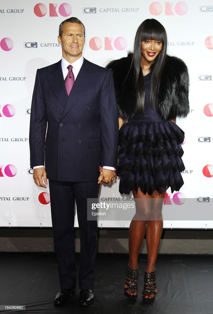 Vladislav Doronin and Naomi Campbell attend the presentation of the new Capital Group skyscraper development project 'OKO' in the 'Moscow City' MMDT on October 16, 2012 in Moscow, Russia. The project consists of a 85-storey residential skyscraper and 49-storeyed office tower