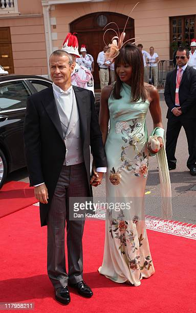 Vladislav Doronin and Naomi Campbell attend the religious ceremony of the Royal Wedding of Prince Albert II of Monaco to Princess Charlene of Monaco...