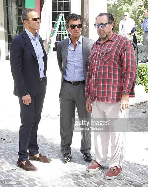 Vladislav Doronin Ugo Colombo and Julian Schnabel are seen at the installation of Julian Schnabel's monumental sculpture 'AHAB' at Miami's Brickell...