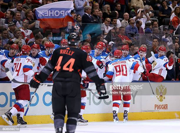 Vladislav Namestnikov of Team Russia high fives the bench after scoring a second period goal on Team North America during the World Cup of Hockey...