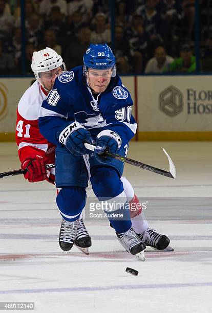 Vladislav Namestnikov of the Tampa Bay Lightning against the Detroit Red Wings during the third period at the Amalie Arena on March 20 2015 in Tampa...