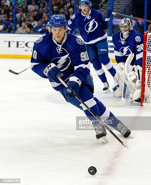 Vladislav Namestnikov of the Tampa Bay Lightning against the New York Rangers at the Amalie Arena on November 26 2014 in Tampa Florida