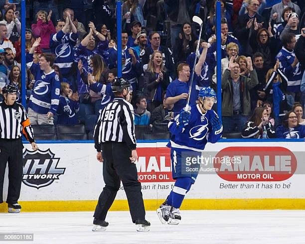 Vladislav Namestnikov of the Tampa Bay Lightning celebrates a goal against the Florida Panthers during the second period at the Amalie Arena on...
