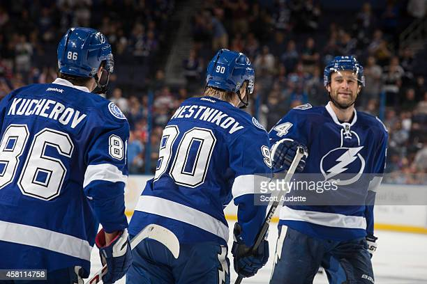 Vladislav Namestnikov of the Tampa Bay Lightning celebrates his first career NHL goal during the third period against the Montreal Canadiens at the...