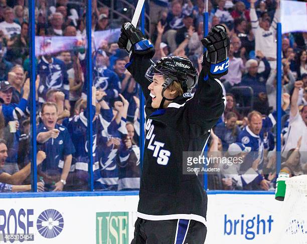 Vladislav Namestnikov of the Tampa Bay Lightning celebrates his goal against the Toronto Maple Leafs during the third period at the Amalie Arena on...