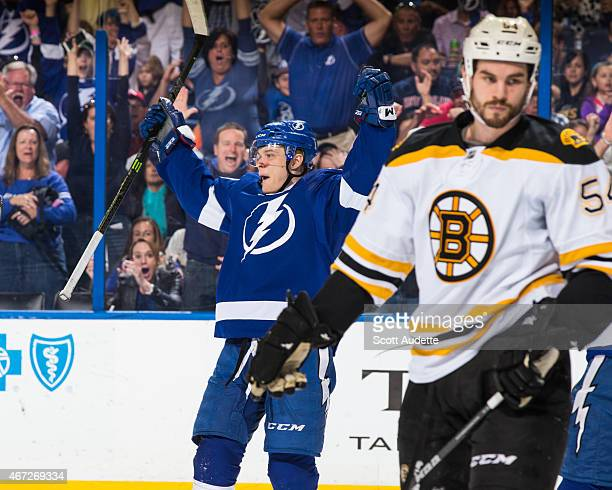 Vladislav Namestnikov of the Tampa Bay Lightning celebrates his goal against Adam McQuaid and the Boston Bruins during the first period at the Amalie...