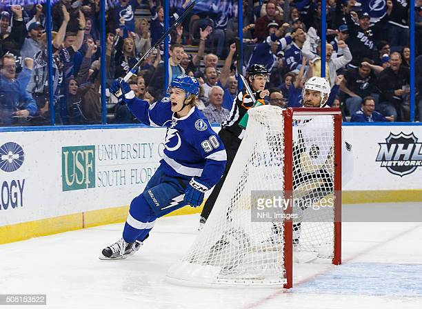Vladislav Namestnikov of the Tampa Bay Lightning celebrates his goal against Trevor Daley of the Pittsburgh Penguins during the first period at the...