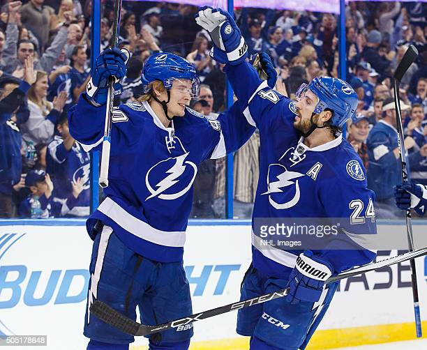 Vladislav Namestnikov of the Tampa Bay Lightning celebrates his goal with teammate Ryan Callahan against the Pittsburgh Penguins during the second...