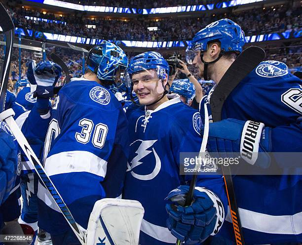 Vladislav Namestnikov of the Tampa Bay Lightning celebrates the series win against the Detroit Red Wings after Game Seven of the Eastern Conference...