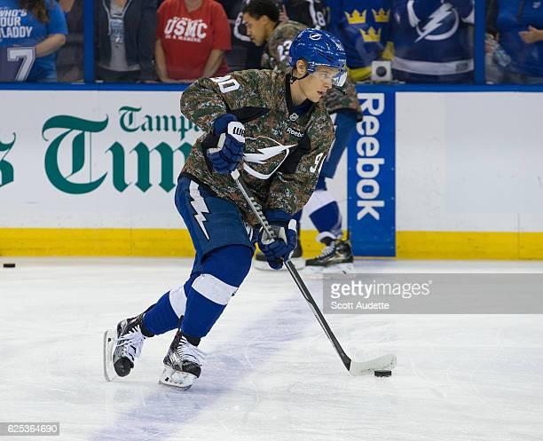 Vladislav Namestnikov of the Tampa Bay Lightning gets ready for the game the New York Islanders at Amalie Arena on November 10 2016 in Tampa Florida...