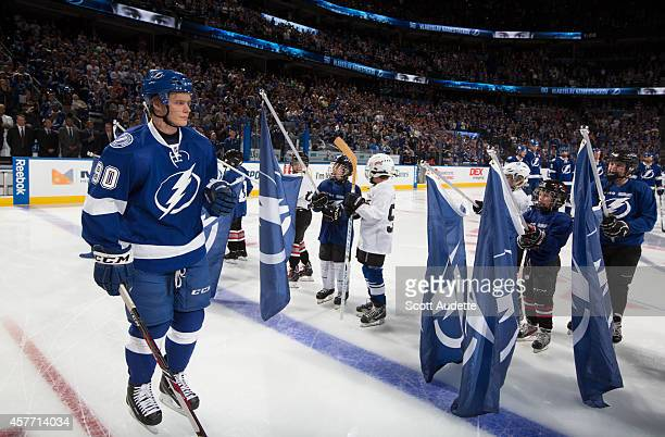 Vladislav Namestnikov of the Tampa Bay Lightning salutes fans as he is introduced prior to the start of the game against the Florida Panthers at the...