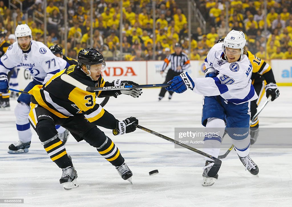 Vladislav Namestnikov #90 of the Tampa Bay Lightning shoots against Olli Maatta #3 of the Pittsburgh Penguins during the first period of Game Seven of the Eastern Conference Finals in the 2016 NHL Stanley Cup Playoffs at the Amalie Arena on May 26, 2016 in Tampa, Florida.
