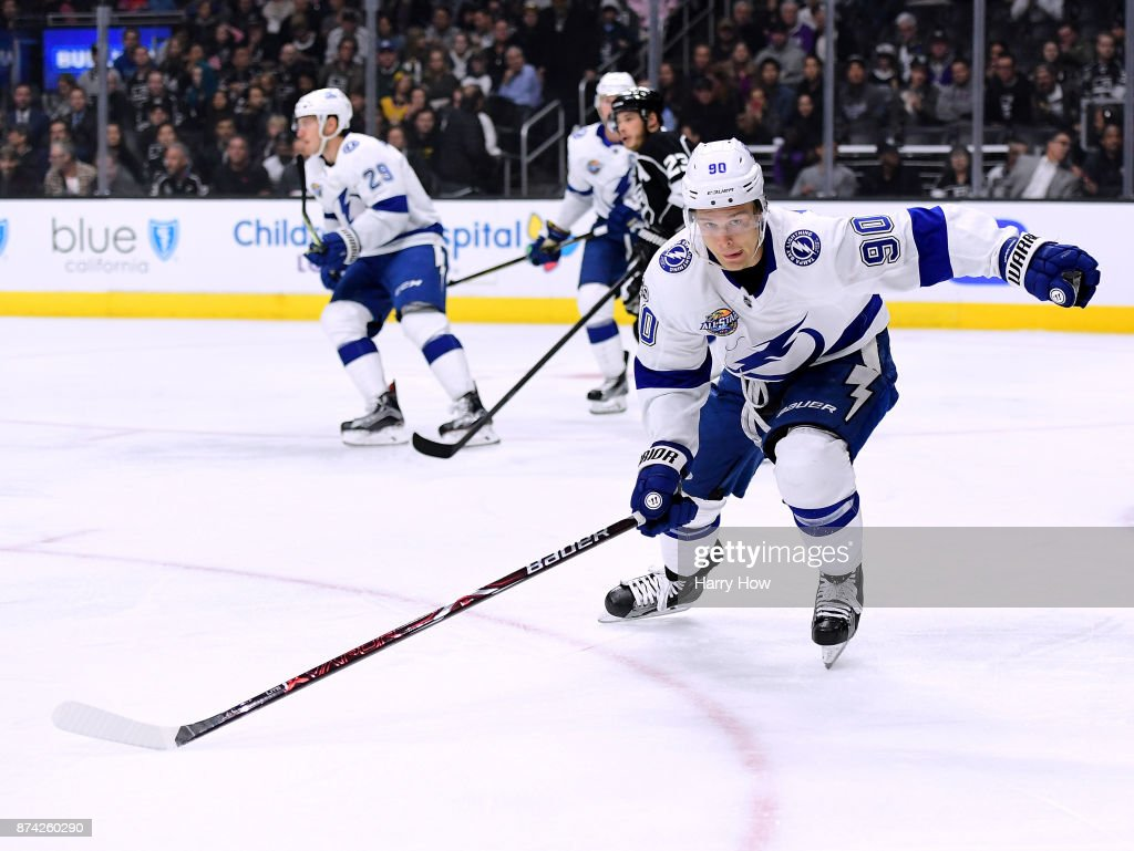 Vladislav Namestnikov #90 of the Tampa Bay Lightning skates after the puck during the game against the Los Angeles Kings at Staples Center on November 9, 2017 in Los Angeles, California.