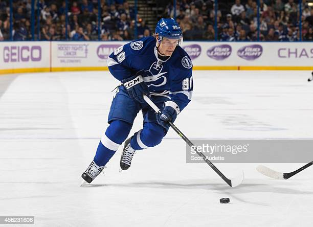 Vladislav Namestnikov of the Tampa Bay Lightning skates against the Arizona Coyotes at the Amalie Arena on October 28 2014 in Tampa Florida