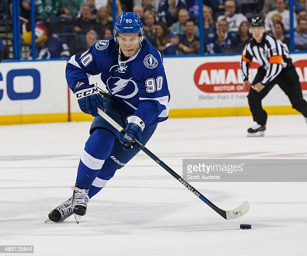 Vladislav Namestnikov of the Tampa Bay Lightning skates against the Dallas Stars during the first period at the Amalie Arena on October 15 2015 in...