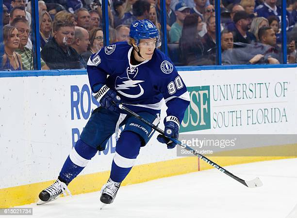 Vladislav Namestnikov of the Tampa Bay Lightning skates against the New Jersey Devils during the third period at Amalie Arena on October 15 2016 in...