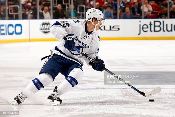 Vladislav Namestnikov of the Tampa Bay Lightning skates with the puck against the Florida Panthers at the BBT Center on November 16 2015 in Sunrise...