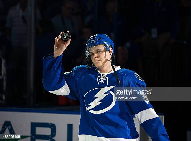 Vladislav Namestnikov of the Tampa Bay Lightning thanks fans for their support after the win against the Boston Bruins at the Amalie Arena on March...