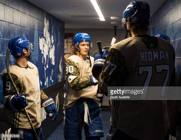Vladislav Namestnikov of the Tampa Bay Lightning wears a Military Appreciation Night jersey for pregame warm ups against the Dallas Stars at Amalie...