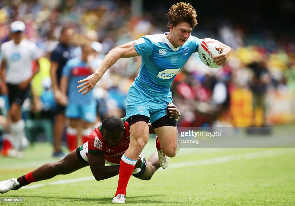 Vladislav Sozonov of Russia is tackled during the 20146 Sydney Sevens match kenya and Russia at Allianz Stadium on February 6, 2016 in Sydney, Australia.