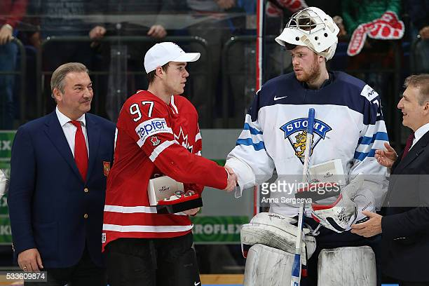 Vladislav Tretiak Connor McDavid of Canada and Mikko Koskinen of Finland are seen during the 2016 IIHF World Championship gold medal game at the Ice...
