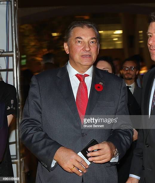 Vladislav Tretiak walks the red carpet prior to the 2015 Hockey Hall of Fame Induction Ceremony at Brookfield Place on November 9 2015 in Toronto...