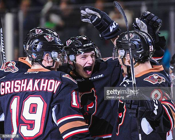 Vladislav Yeromenko of the Calgary Hitmen celebrates after scoring against the Moose Jaw Warriors during a WHL game at Scotiabank Saddledome on...