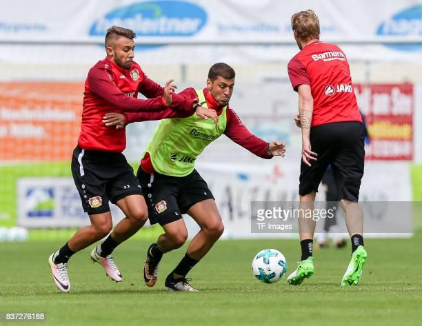 Vladlen Yurchenko of Bayer 04 Leverkusen and Aleksandar Dragovic of Bayer 04 Leverkusen battle for the ball during the Training Camp of Bayer 04...