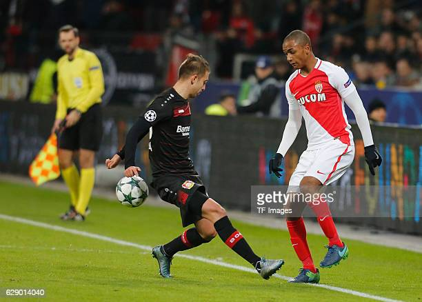 Vladlen Yurchenko of Leverkusen and Abdou Diallo of Monaco battle for the ball during the UEFA Champions League match between Bayer Leverkusen and AS...