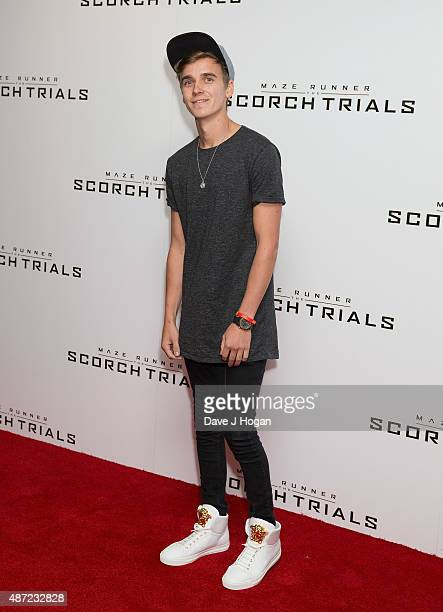 Vlogger Joe Sugg attends a UK Fan event for 'Maze Runner The Scorch Trials' at Vue West End on September 7 2015 in London England