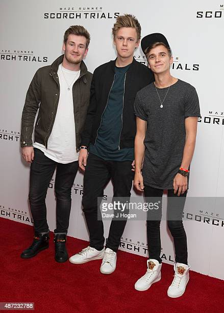 Vloggers Oli WhiteCaspar Lee and Joe Sugg attend a UK Fan event for 'Maze Runner The Scorch Trials' at Vue West End on September 7 2015 in London...