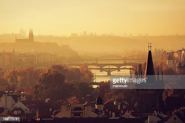 Rivière Vltava et les ponts de Prague