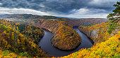 View of Vltava river horseshoe shape meander from Maj viewpoint, Czech Republic