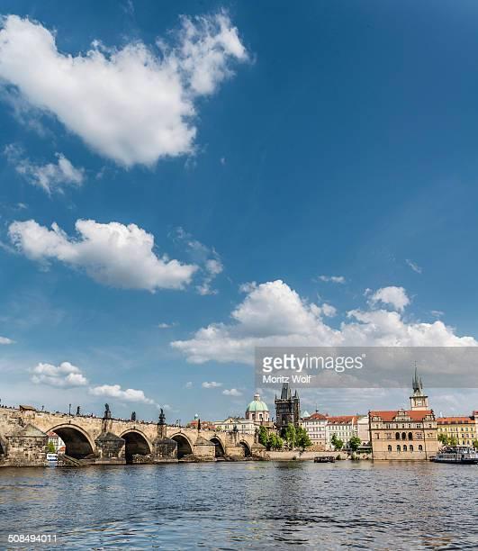 Vltava river with Charles Bridge or Karluv most, UNESCO World Heritage Site, Prague, Hlavni mesto Praha, Czech Republic