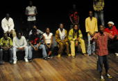 Vocal artists practice their 'Slam' and Rap at the French cultural center in Libreville on March 9 2010 'Slam' a popular form of poetry has been...
