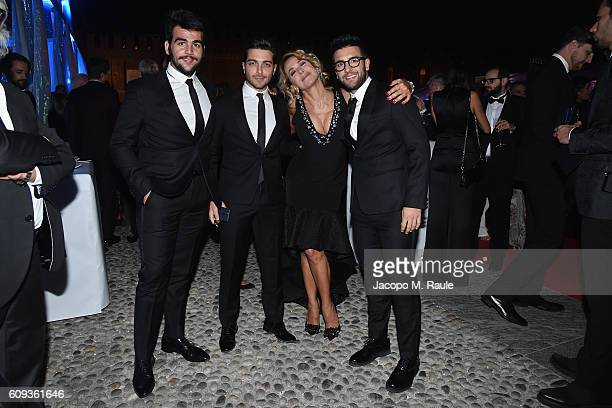 Vocal band Il Volo and Barbara D urso attend the Milano Gala Dinner benefitting the Novak Djokovic Foundation presented by Giorgio Armani at Castello...